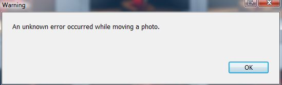 Lightroom: An unknown error occured while moving a photo