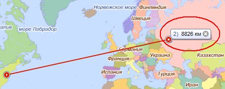 Москва - Вашингтон, по версии Яндекс.Карт
