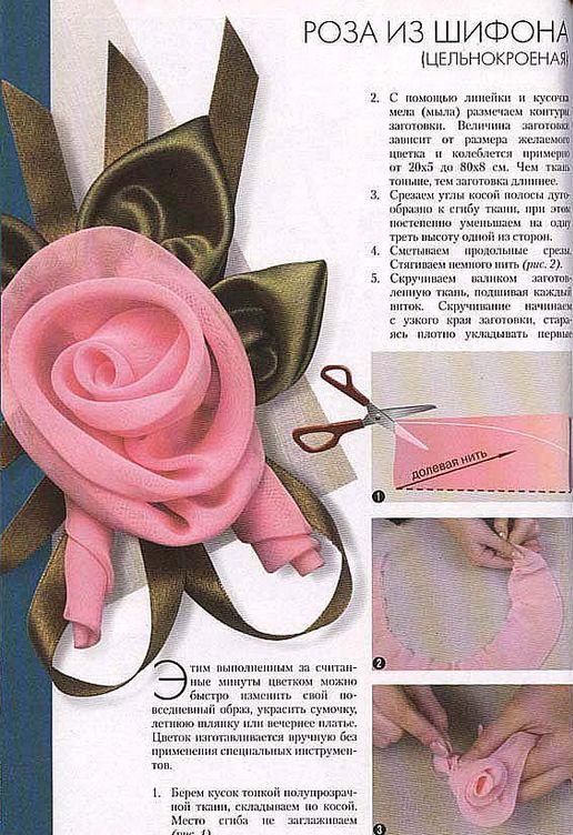 Как сделать розочку из ткани на платье