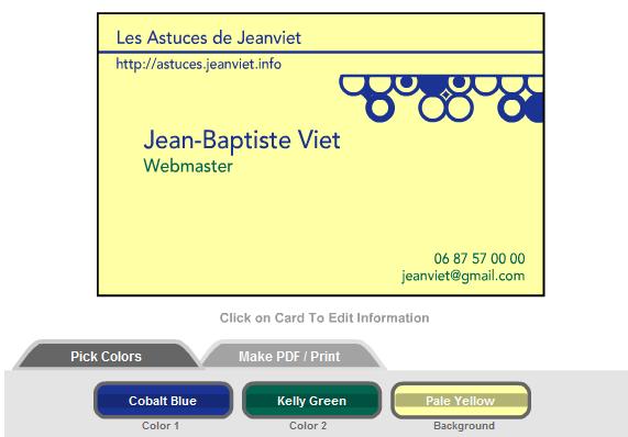 carte de visite personnalisée