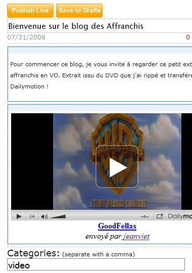 post avec video