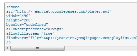 code html playlist à coller