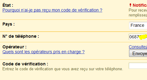 code de vérification