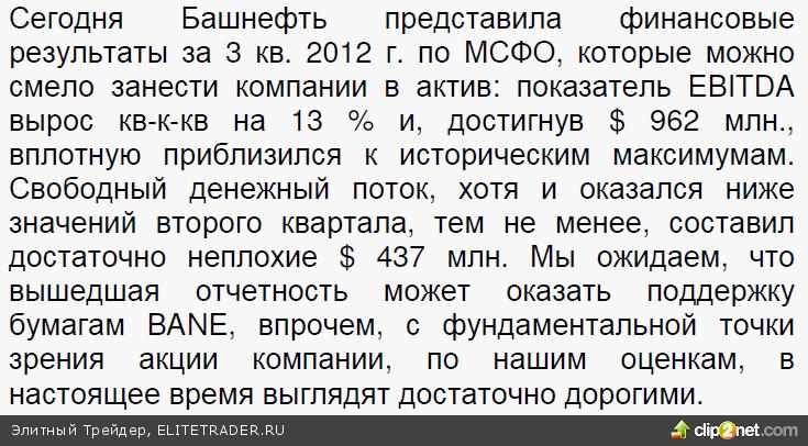 Отчетность Башнефти по МСФО за 3 кв. 2012 г: показатель EBITDA приблизился к историческим максимумам