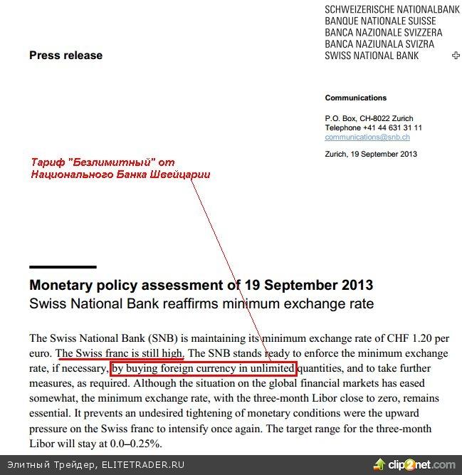 Национальный Банк Швейцарии объявил валютным спекулянтам войну