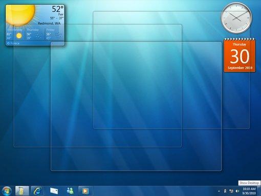 Windows 7 desktop peek