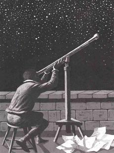 galileo gleda kroz svoj teleskop