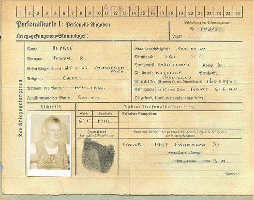 zarobljenička iskaznica joseph r. beyrle