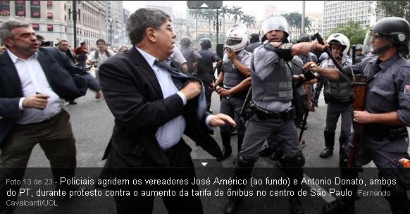 vereadores José Americo e Antonio donato agredidos pela policia Tucana por causa do aumento da passagem de ônibus em SP