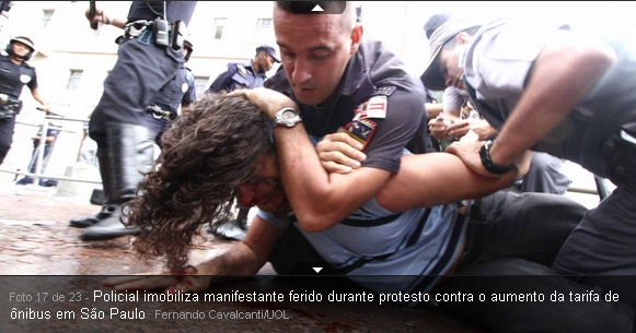 Jovem agredido pela ditadura de Alckmin e Kassab em São paulo capital