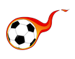 nogometna lopta u plamenu