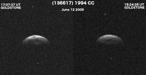 Radarske snimke asteroida 1994 na kojima se pored centralnog tijela jasno uočavaju i dva mala pratitelja.