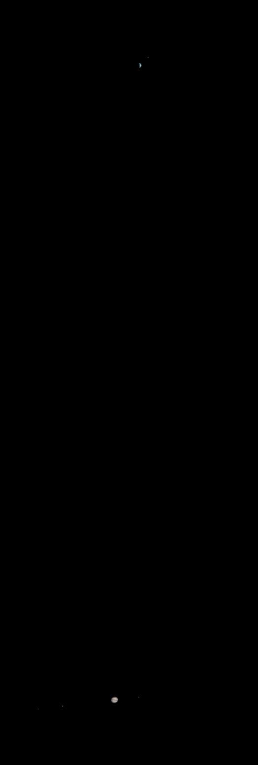 zemlja i jupiter na jednoj fotografiji snimljenoj iz orbite marsa
