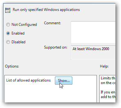 Run only specified Windows applications