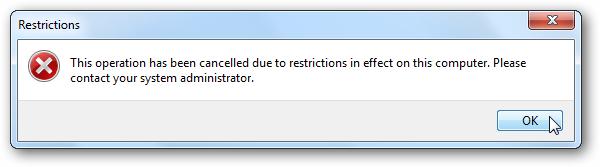 poruka o pokušaju pokretanja zabranjene aplikacije