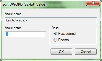 win7 registry taskbar hack last active click